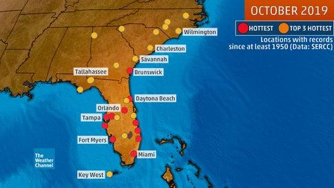 record hot florida october 2019, weird weather usa, record hot florida october 2019 map