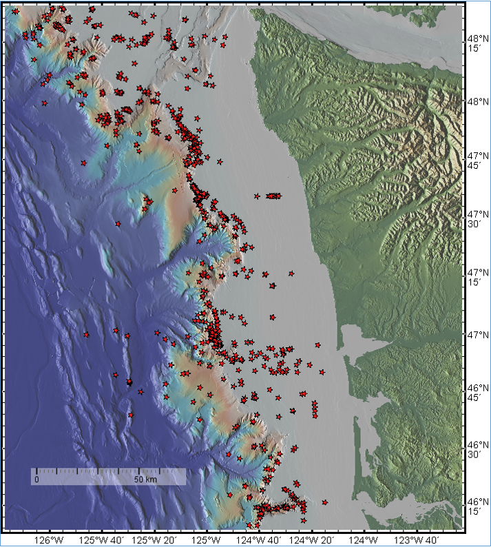 Thousands of methane vents discovered along Cascadia