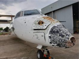 Plane in Zambia heavily damaged by hail and lightning in Zambia, Plane in Zambia heavily damaged by hail and lightning in Zambia pictures