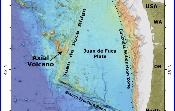 axial seamount location, underwater axial seamount location, Location map of Axial Seamount 300 miles off Oregon