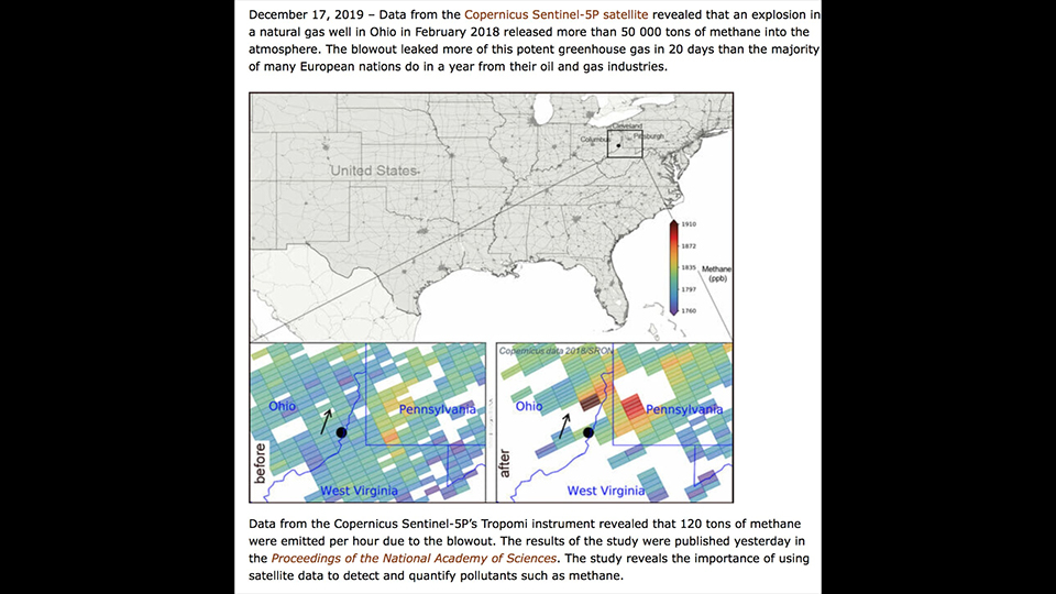 Satellite discovers largest recorded methane leak in the U.S., ohio methane gas leak