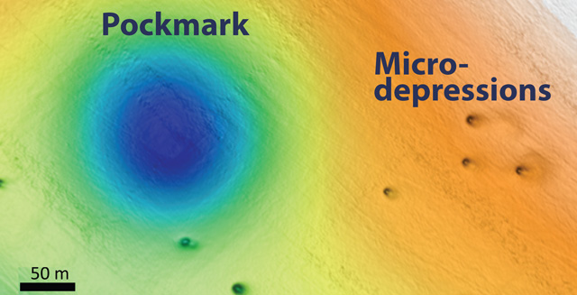 mysterious holes off california, what are the mysterious holes off california, pockmacks and micro-depressions off california coast