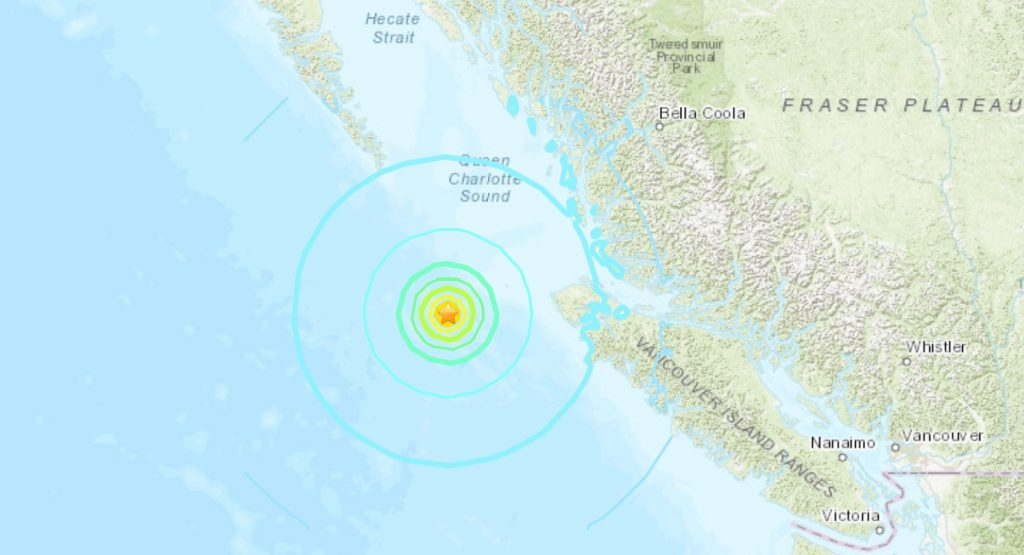 A M6.3 earthquake hit off Vancouver Island on December 25