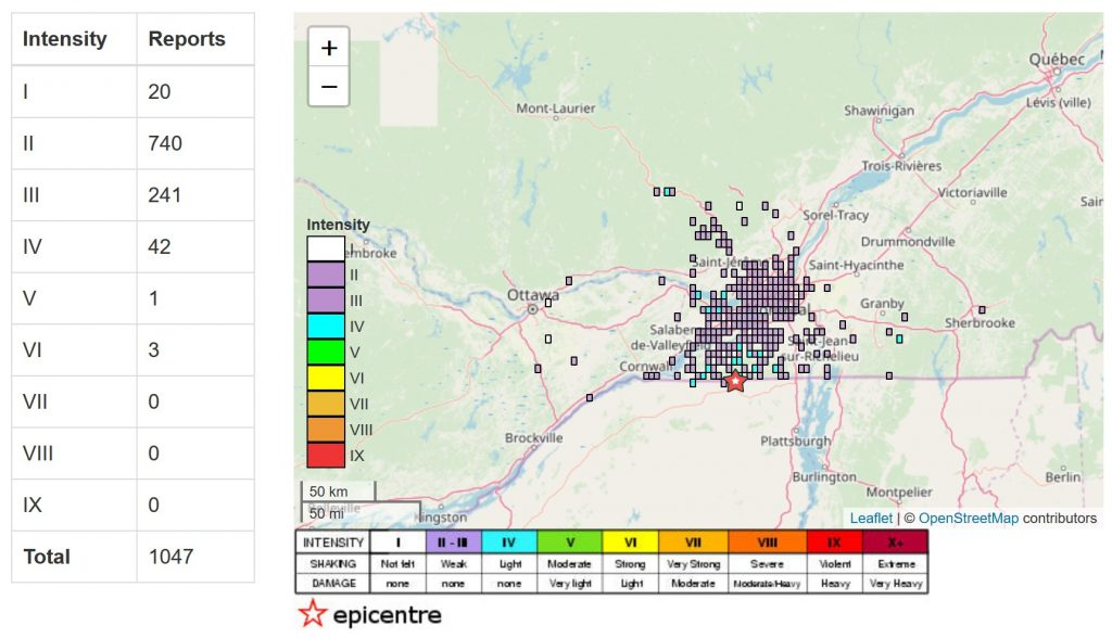 Montreal earthquake january 13 2020, earthquake canada january 13 2020, Shake map of the rre M4.0 earthquake south west of Montreal on January 13 2020