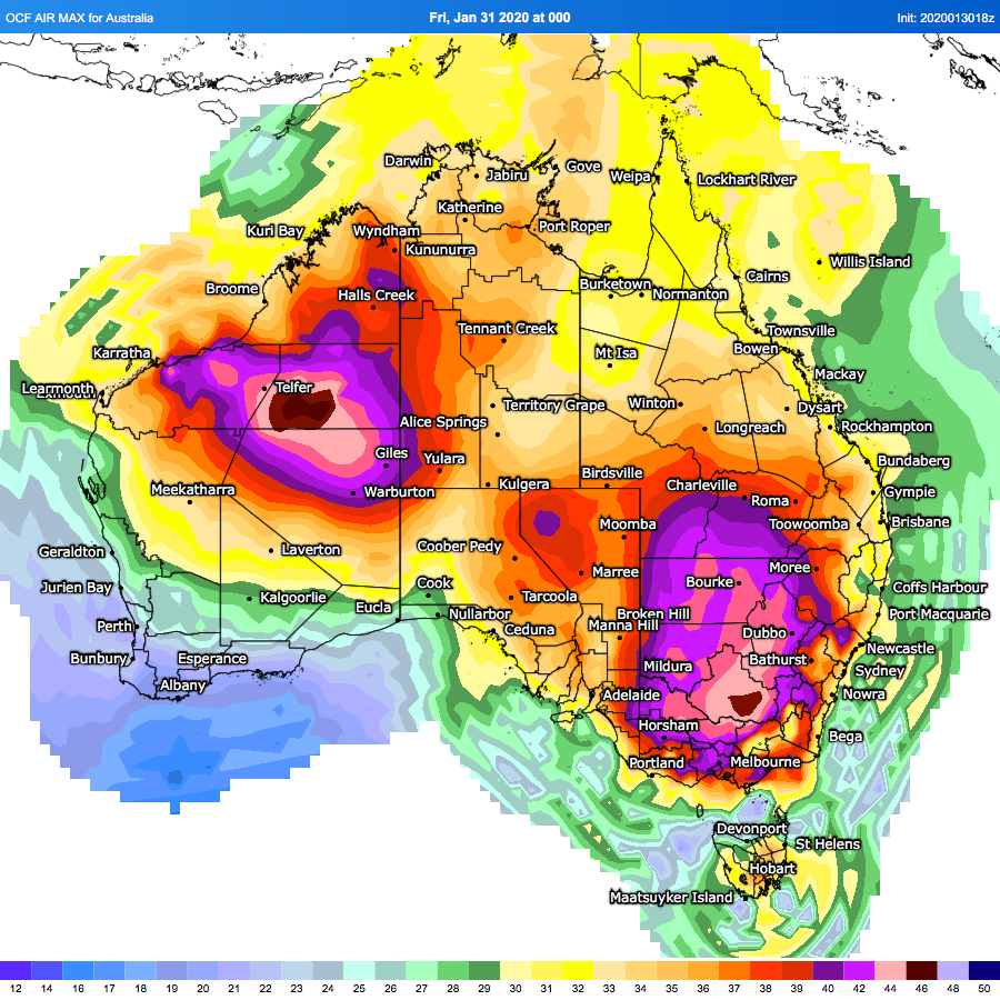 Extreme heat and temperatures forecast for Australia on January 31 2020, EXTREME HEAT LIKELY ACROSS NSW, ACT, VIC & TAS - FRIDAY & SATURDAY, australia heat wave fire january 31- february 1 2020