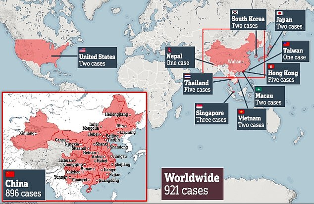 coronavirus infection world map, So far more than 900 people have been infected worldwide in 10 different countries. But experts say the true number is probably closer to 10,000