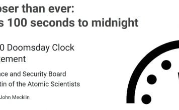 Doomsday Clock 2020, doomsday 100 seconds to midnight, The end of the world has never been closer. It is 100 seconds to midnight