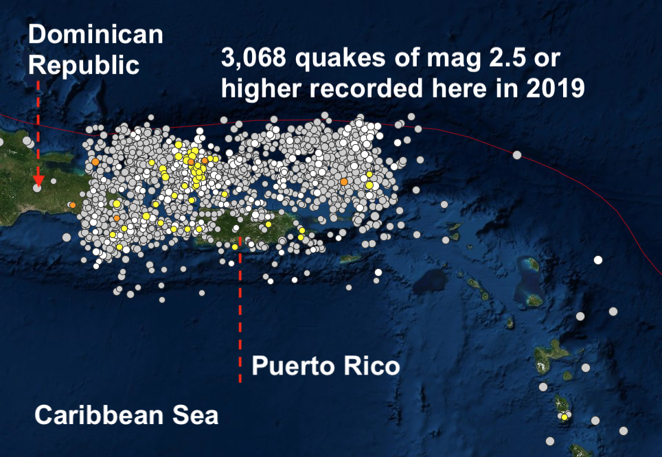 earthquake swarm puerto rico, earthquake swarm puerto rico 2019, earthquake swarm puerto rico 2019-2020