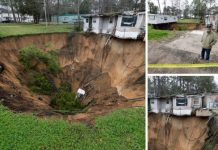 Giant sinkhole swallows mobile home and threatens another one in Florida, Giant sinkhole swallows mobile home and threatens another one in Florida video, Giant sinkhole swallows mobile home and threatens another one in Florida picture