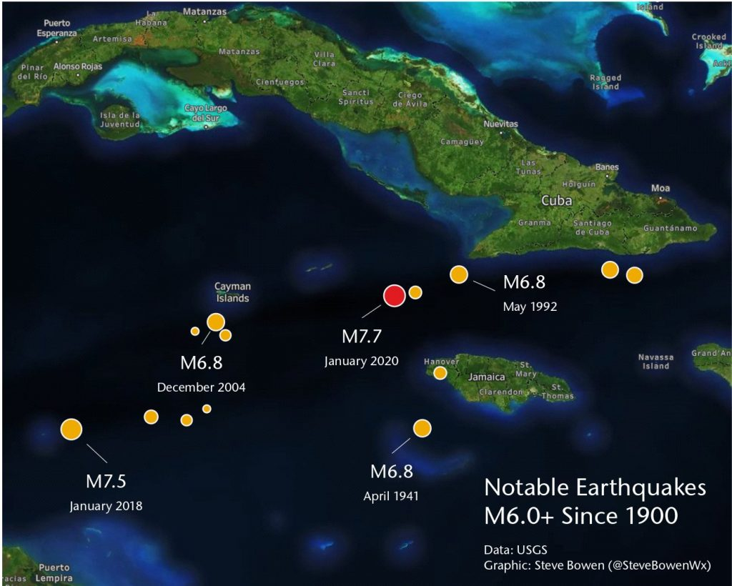 largest earthquakes in Caribbean since 1900 map, map showing largest earthquakes in Caribbean since 1900