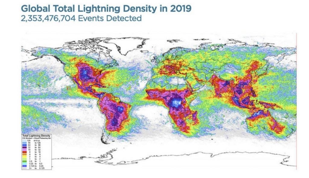 Lightning hot spots around the world, Lightning hot spots around the world map