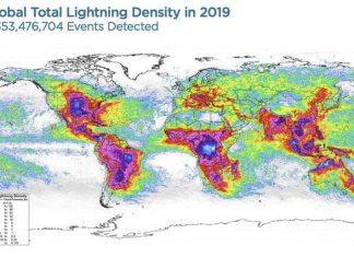 Lightning hot spots around the world, Lightning hot spots around the world map