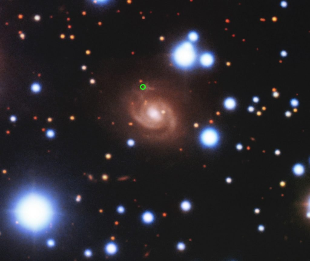 fast radio burst, fast radio burst origin discovery, Image of the host galaxy of FRB 180916. New measurements have allowed astronomers to pinpoint the location of a Fast Radio Burst in a nearby galaxy — making it the closest known example to Earth and only the second repeating burst source to have its location pinpointed in the sky