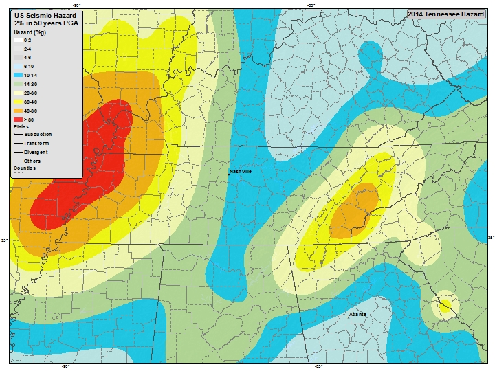 Tennessee earthquake Hazard Map, tennessee seismic hazard, The New Madrid Fault (left) and the Eastern Tennessee Seismic Zone (right). Tennessee earthquake Hazard Map