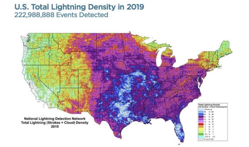 Lightning hot spots in the U.S., Lightning hot spots in the U.S. map