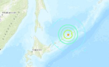 M6.9 earthquake hits 92km ENE of Kuril'sk, Russia on February 13 2020