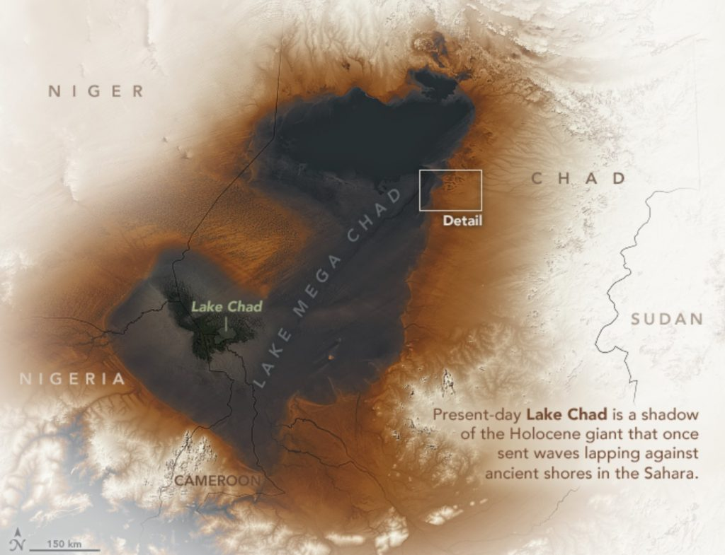 lake mega chad, Ancient Lake Mega Chad in Sahara desert satellite imagery