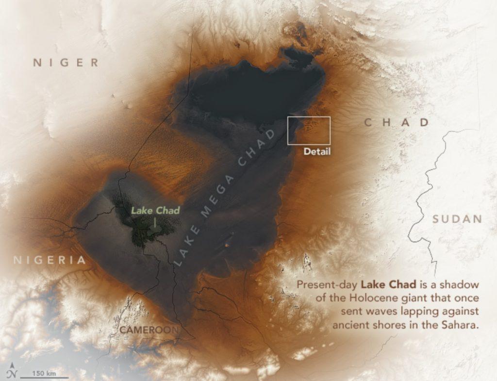 λίμνη μέγα τσαντ, αρχαία λίμνη Mega Τσαντ στη δορυφορική απεικόνιση έρημο Σαχάρα