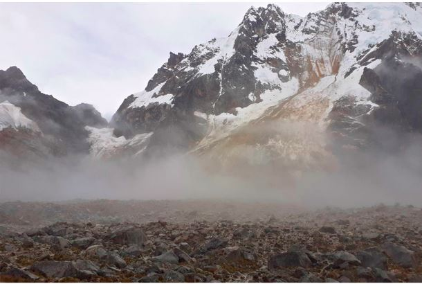 The site of the rock / ice avalanche at Salkantay in Peru.