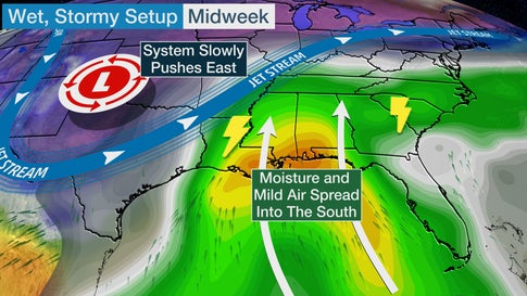 Severe thunderstorms and flooding rain will hammer parts of the South from the lower Mississippi Valley to the Southeast coast the next few days.