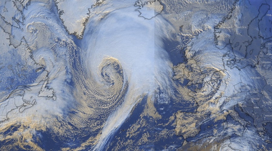 Storm Dennis explodes into a furious bomb cyclone over the Northern Atlantic Ocean, Storm Dennis explodes into a furious bomb cyclone over the Northern Atlantic Ocean pictures, Storm Dennis explodes into a furious bomb cyclone over the Northern Atlantic Ocean videos
