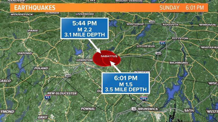 2 rare earthquakes rattle Maine on February 23 2020, sabattus earthquake maine