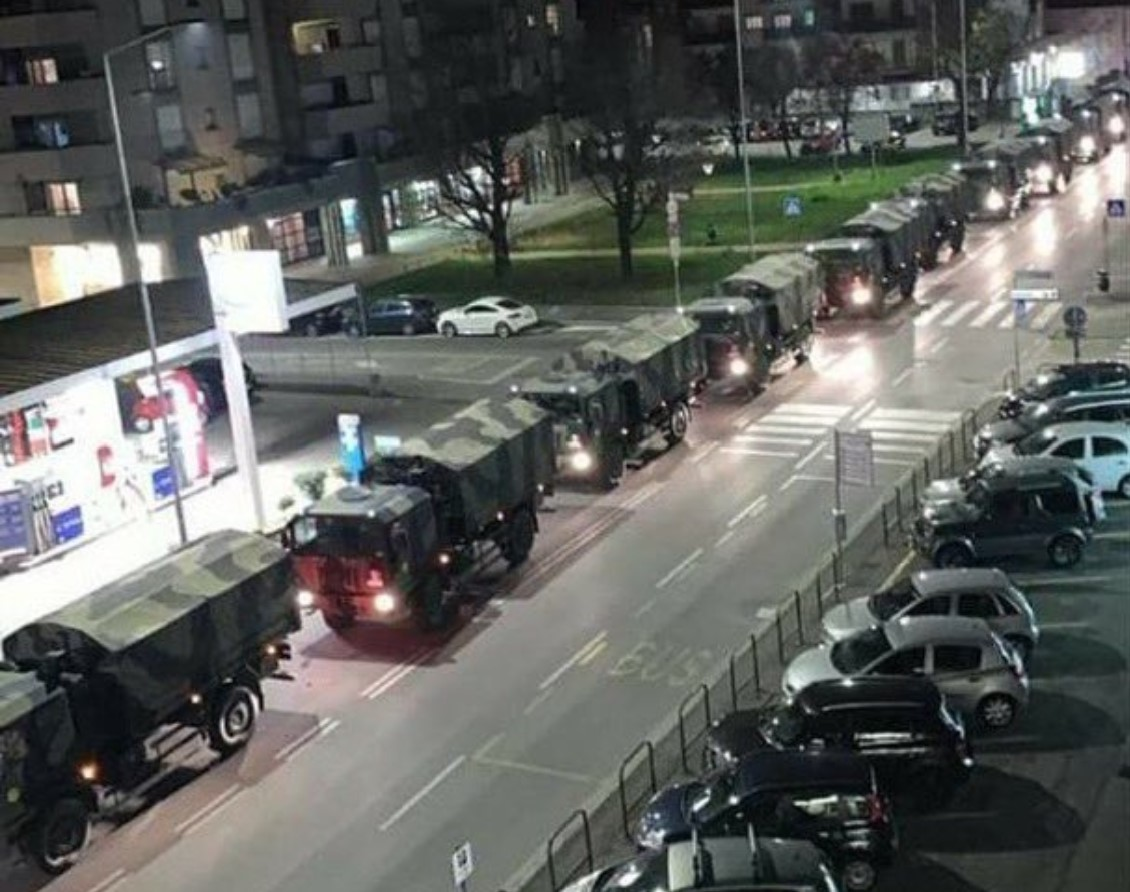 Huge column of Military trucks transport coffins of Corona victims in Bergamo, Italy, to other cities for cremation in video - Strange Sounds