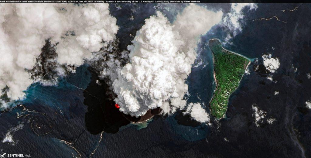 New violent eruption of Anak Krakatau in Indonesia on April 13 2020, New violent eruption of Anak Krakatau in Indonesia on April 13 2020 video, New violent eruption of Anak Krakatau in Indonesia on April 13 2020 pictures