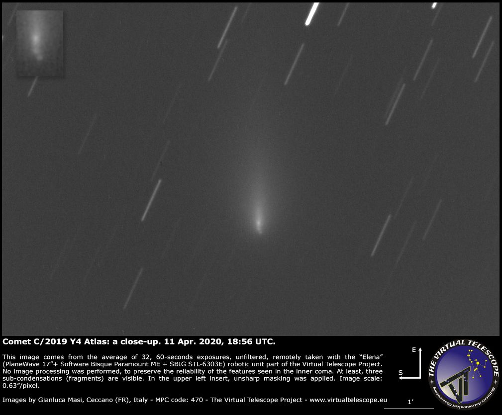 comet atlas fragmentation, rip comet atlas, Comet Atlas has fragmented into 3 or 4 pieces, comet atlas disintegration