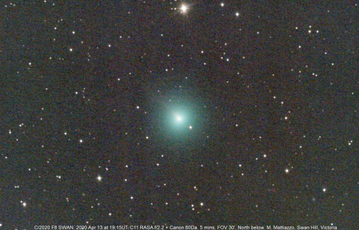 comet swan, newly discovered comet swan, The newly discovered Comet Swan is bright (8th magnitude), green, and has a long tail