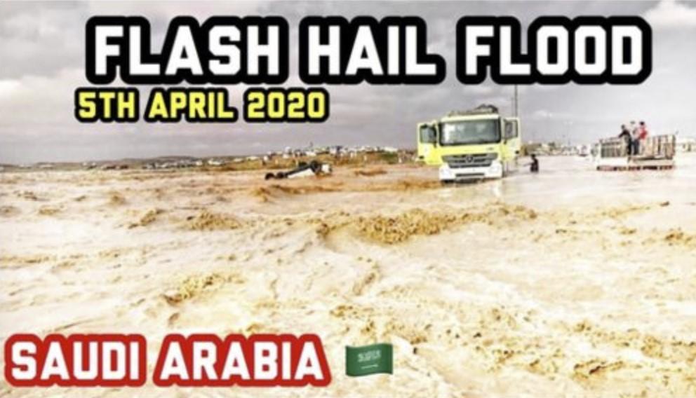 Biblical hail and rain floods desert of Saudi Arabia on April 5, Biblical hail and rain floods desert of Saudi Arabia on April 5 video, Biblical hail and rain floods desert of Saudi Arabia on April 5 pictures