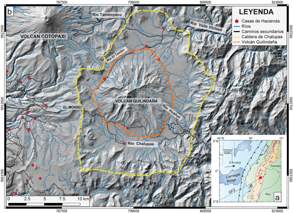 (a) Location of Chalupas (red square) in the geodynamic context of Ecuador (b) Location map of the Chalupas caldera.