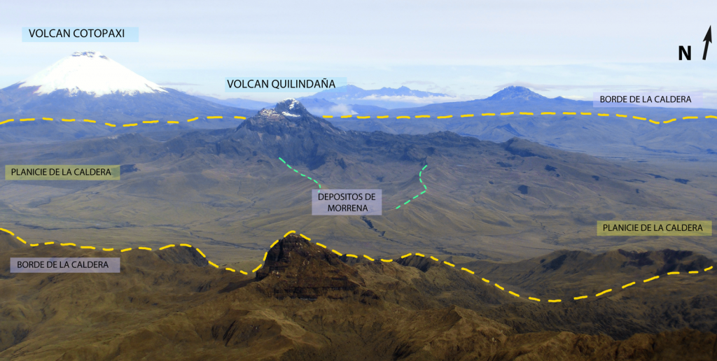 Approximate diagram of the topographic edge of the Chalupas caldera