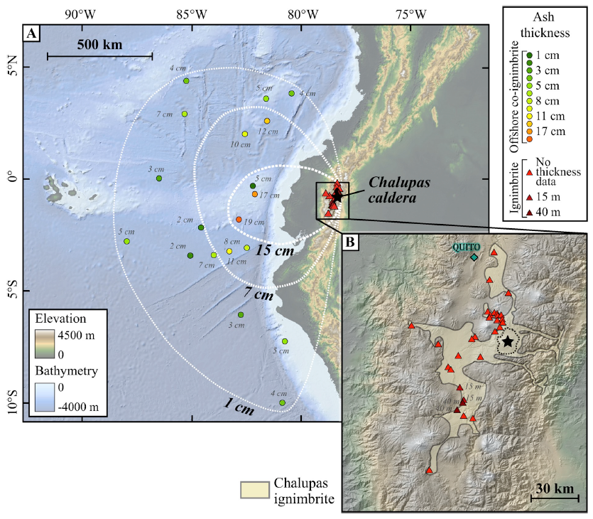 chalupas eruption, map of the isopacs of the Chalupas co-ignimbrite deposit and observation points in the drilling cores on the ocean floor and (B) reconstruction of the Chalupas ignimbrite deposit in the Inter-Andean Valley