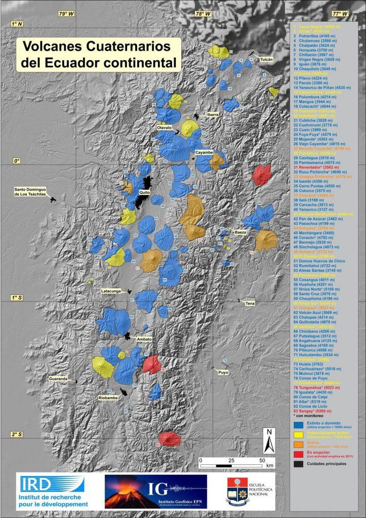 Map of volcanoes in Ecuador