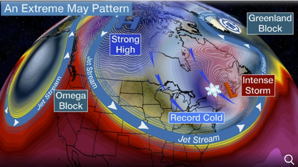 Extreme Mother's Day Weekend: Record Cold into the South, Snow in the Northeast, Potential New England Bomb Cyclone