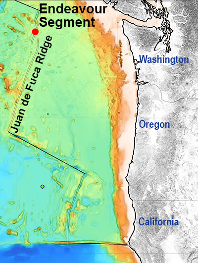 The Endeavour Segment of the Juan de Fuca Ridge is an active volcanic area far off the coast of the Pacific Northwest, hundreds of hydrothermal chimneys in the Endeavour hydrothermal vent field off Washington, hydrothermal chimneys in the Endeavour hydrothermal vent field off Washington