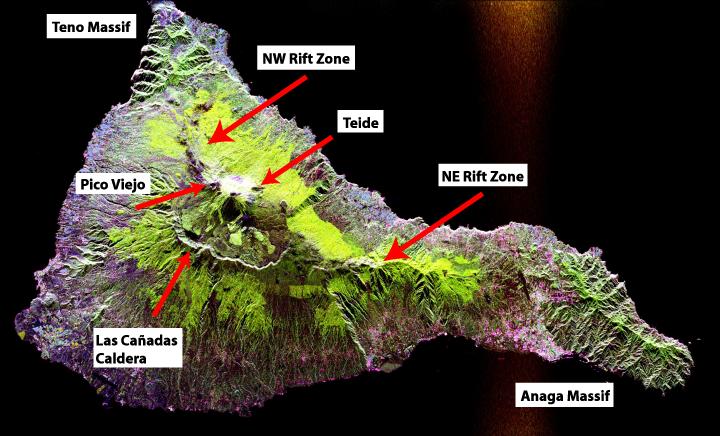 tenerife volcanoes, tenerife volcanoes map