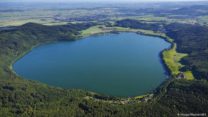The Laacher See caldera in Germany is bubbling suggesting magma intrusion and degassing, Laacher See caldera Germany Europe bubbling video