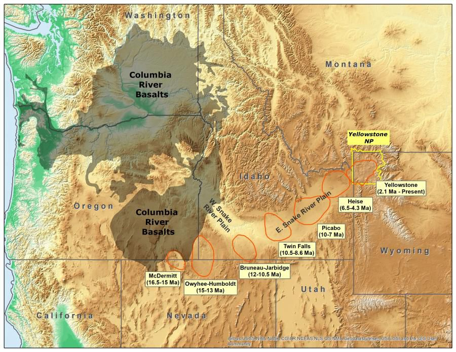 Yellowstone hotspot and super-eruptions over the years