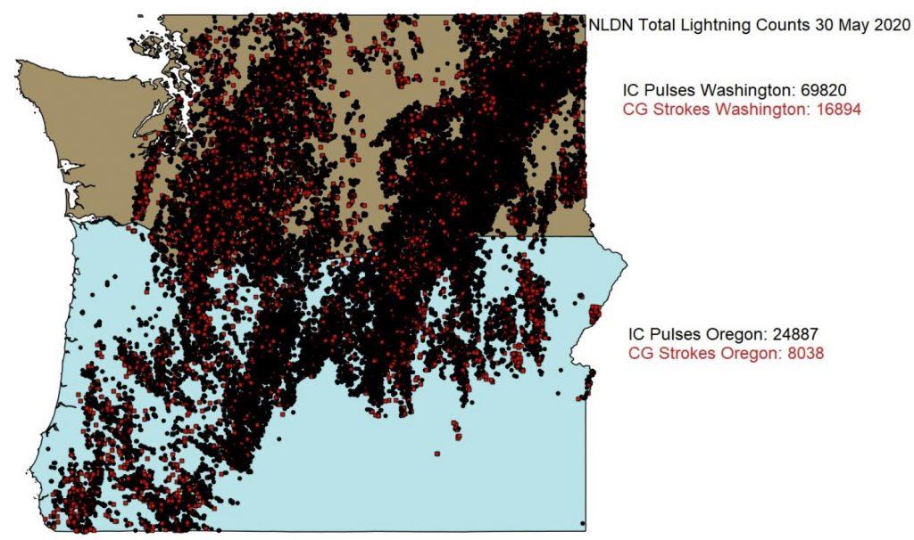 Just how anomalous was the weather in Washington and Oregon on May 30, anomalous lightning weather washington oregon