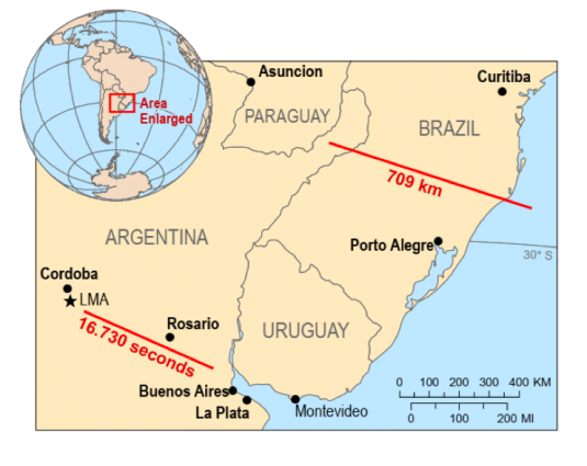 megaflash longest flash brazil longest flash in time argentina, Megaflash lightning extremes: Two new world records for the longest reported distance and the longest reported duration for a single lightning flash in, respectively, Brazil and Argentina