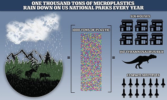 Millions of microplastic particles are spiralling through the Earth's atmosphere and raining down on protected wilderness areas and US national parks like the Grand Canyon