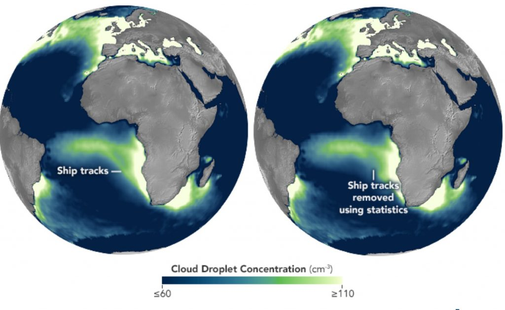 average cloud droplet concentrations from 2003 to 2015 during the cloudiest months for the region