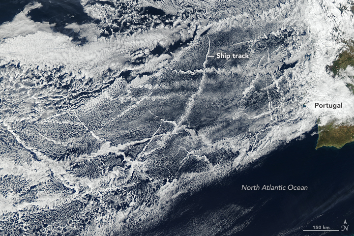 Ship emissions in the southeast Atlantic help create more reflective clouds that produce a local cooling effect.
