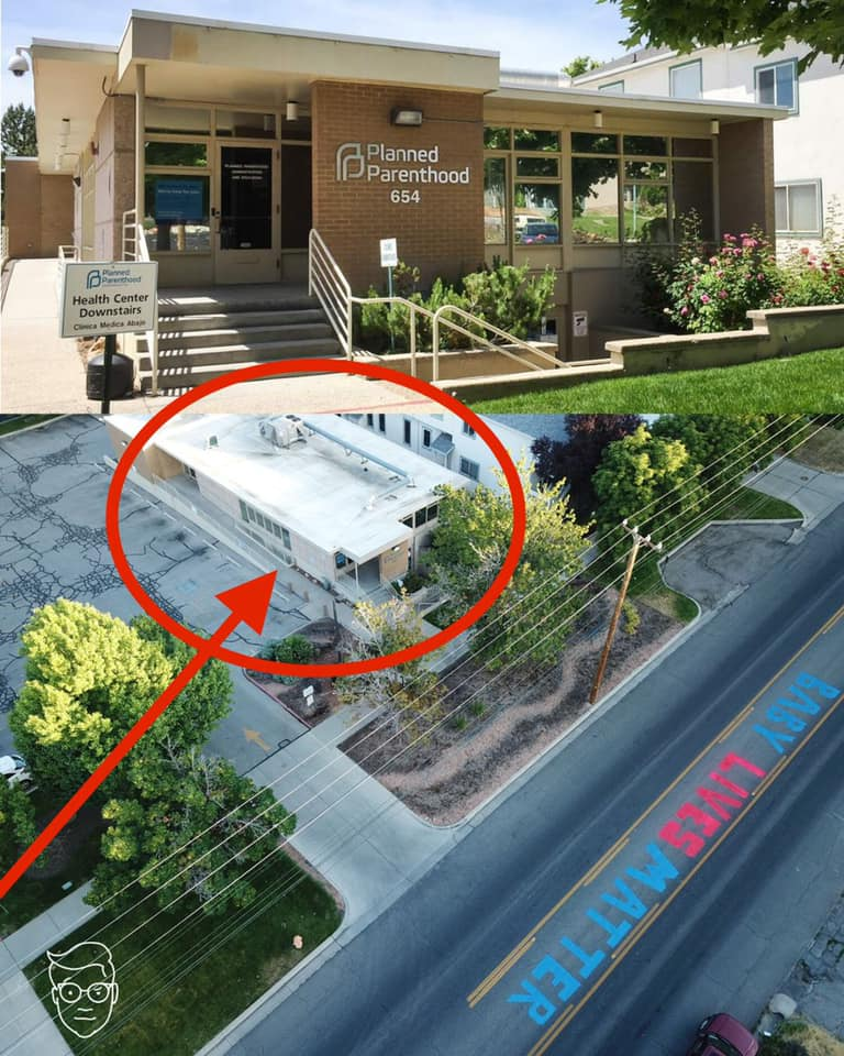 Baby lives matter painted on street in front of planned parenthood in Salt Lake City