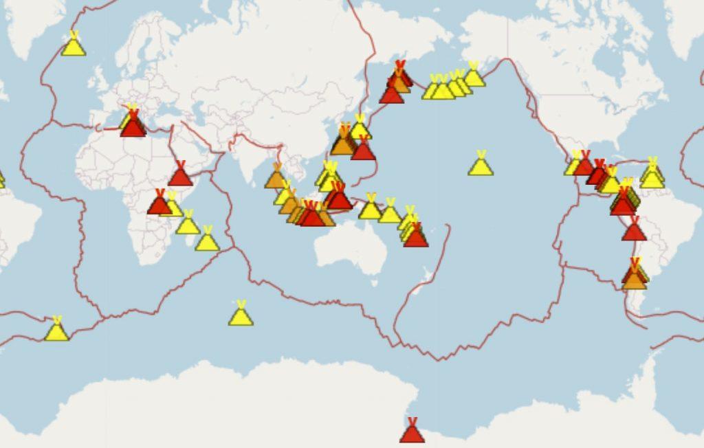 erupting volcanoes around the world july 2020