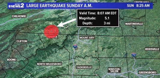 M5.1 earthquake hits North Carolina on August 9 2020, M5.1 earthquake hits North Carolina on August 9 2020 video, M5.1 earthquake hits North Carolina on August 9 2020 picture