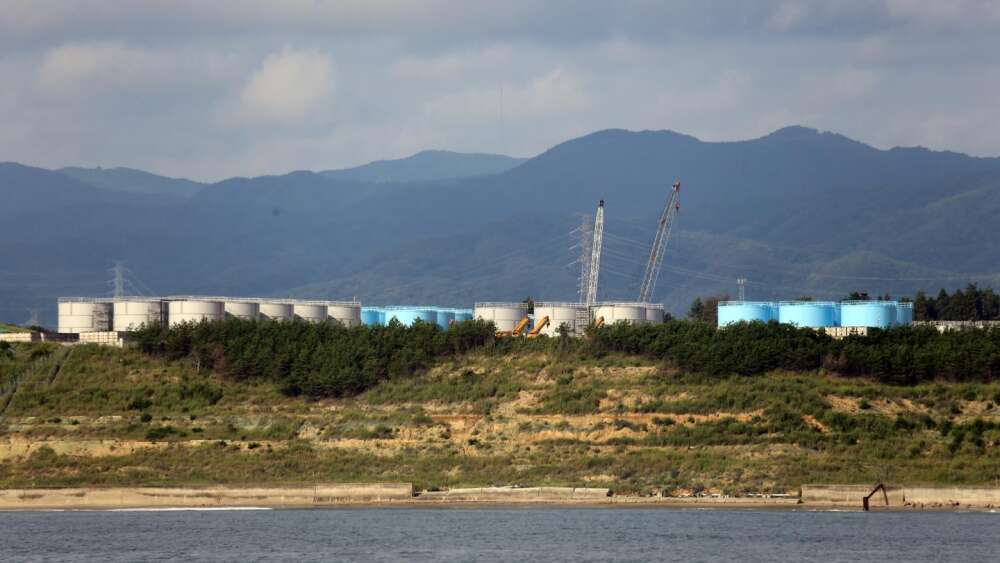 Tanks hold at the site of the former Fukushima Daiichi nuclear containing mixture of radioactive isotopes