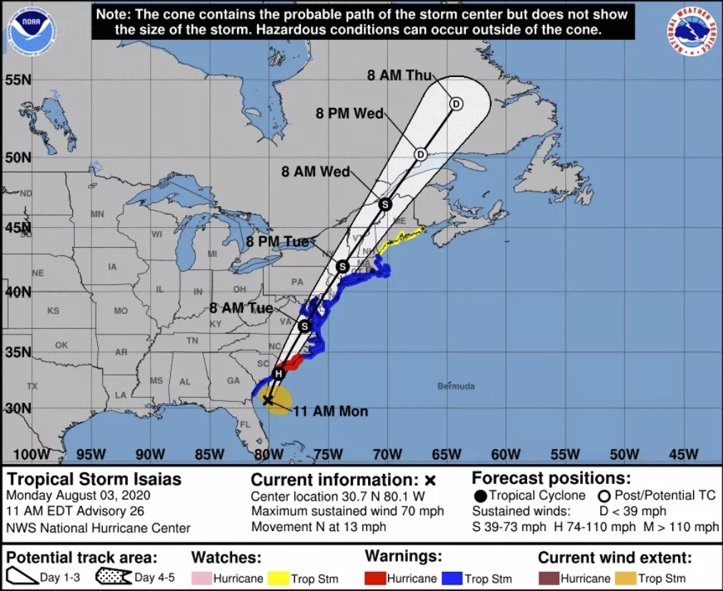 Tropical storm Isaias,Tropical storm Isaias will likely strengthen to a hurricane before hitting the Carolinas